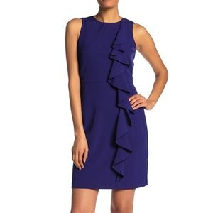 Vince Camuto Cobalt Crepe Ruffle Sleeveless Dress